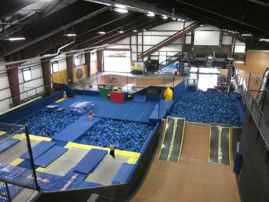 Copper Mountain, CO: View of the trampoline area and larger ramps.