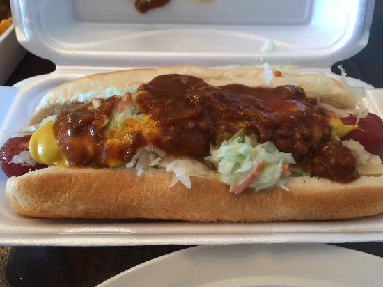 Franks OBX Dog House: This was chili, coleslaw, cheese and sauerkraut.  Yum!
