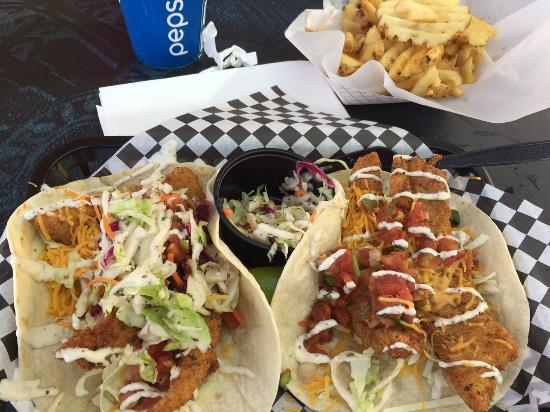 Huge tacos picture of the tin fish san diego tripadvisor for Tin fish menu