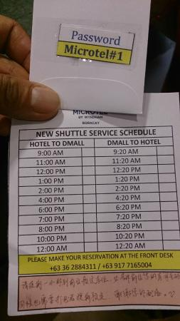 Microtel Inn & Suites by Wyndham Boracay: Shuttle schedules