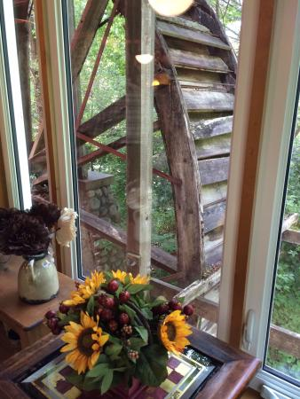 Waupaca, WI: View out the window of the mill wheel