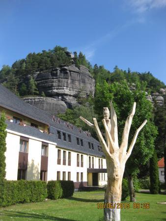 Hotel Oybiner Hof: liebevoll geschnitzter Baum mit Eule