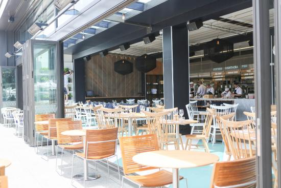 Regatta Bar + Eatery: Open plan design lets the kitchen connect your dining experience with its maritime location