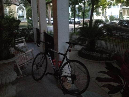 Bed & Breakfast at the Point: My bike on the front porch before heading to the Bridgeman Duathlon.