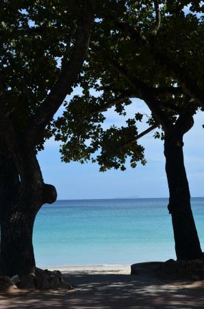 Beau Vallon, Seychelles: Vue de la plage depuis les jardins de l'hôtel