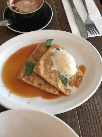 Fleur Depot De Pain: Crepes and poached egg with salmon and potato