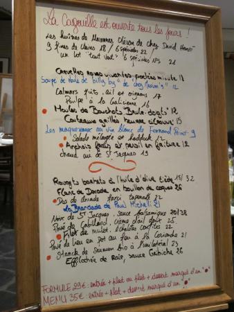 La Cagouille : La Carte