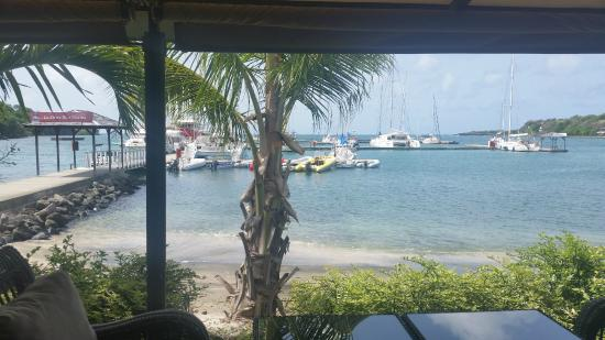Petite Calivigny, Grenada: view from The Deck out to Marina.