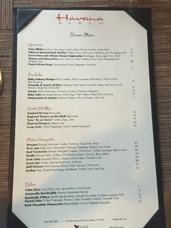 Havana Beach Bar & Grill: Menu