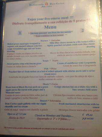 Restaurante Dom Carlos: Menu
