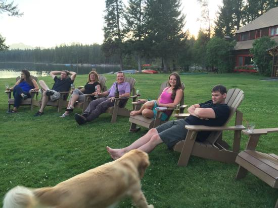 Condon, MT: Family drinks on the Adirondack Chairs