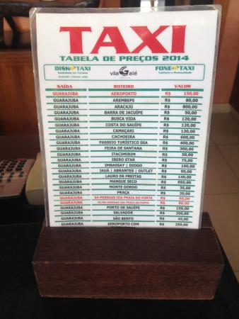 Camaçari, BA: Idéia de tarifas de táxi do hotel até outros pontos turísticos e Aeroporto