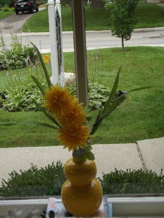 Stone Maiden Inn: View from the breakfast table, they always have pretty flowers on the tables