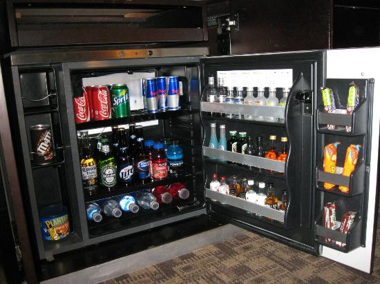 The Palms Casino Hotel: Stocked refrigerator in one of the Fantasy Tower rooms.