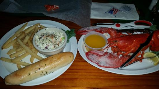 McKenna's Place NSB: A 1 1/2 lb Lobster w/butter and fries and Cold Slaw. Ummm