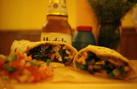 Los Burritos: Vegetarian options: Spinach or Eggplant burritos (with a Modelo beer).