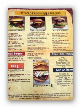 The Red B: Menu and prices