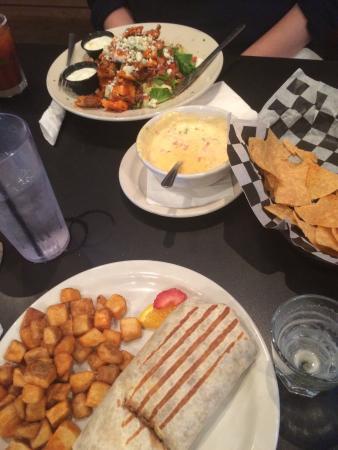 Chill Restaurant & Bar: Breakfast burrito & buffalo chicken salad