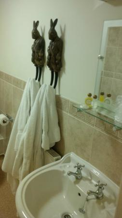 quirky bathroom towel hangers in the incredibly clean room