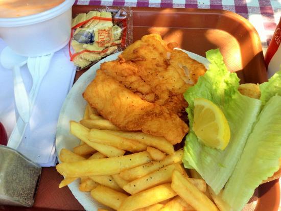 Friendly Fisherman's : Fish sandwich lacks seasoning & Cup of Orange Water