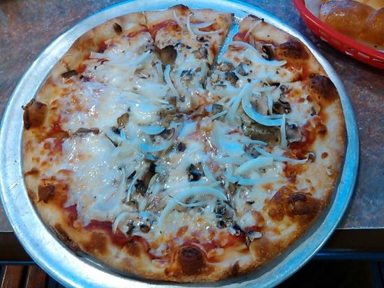 """12"""" pizza with mushrooms, onions."""