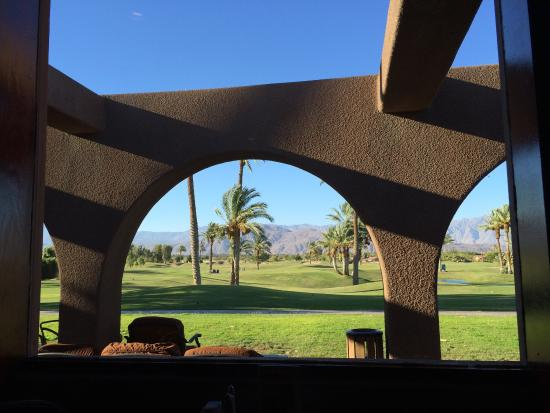 The Arches at The Borrego Springs Resort: View from inside bar looking out.