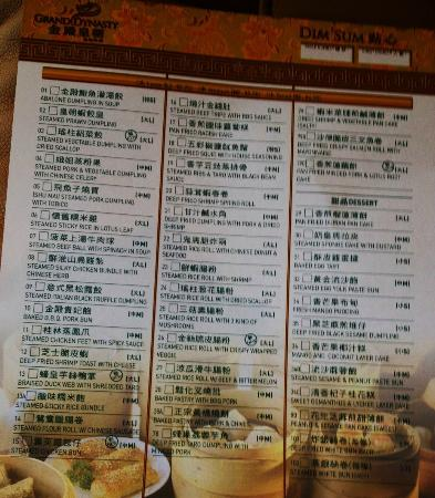 Grand Dynasty Seafood Restaurant: Dim Sum order checklist