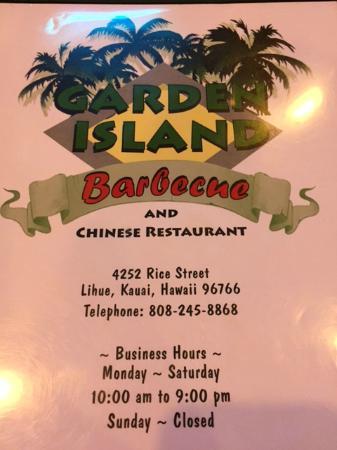 Garden Island BBQ & Chinese Restaurant : Menu