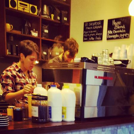 yellow bernard: Coolest staff, making the nicest way to start the day - smile, awesome coffee, and a story.