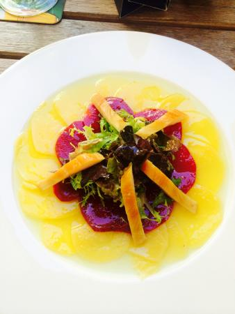 Bohemica Old Town: Beetroot carpaccio with tender greens and smoked trout