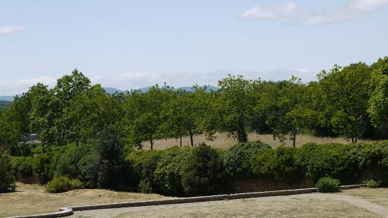 Chateau Abbaye de Cassan: View towards Gabian from the Chateau