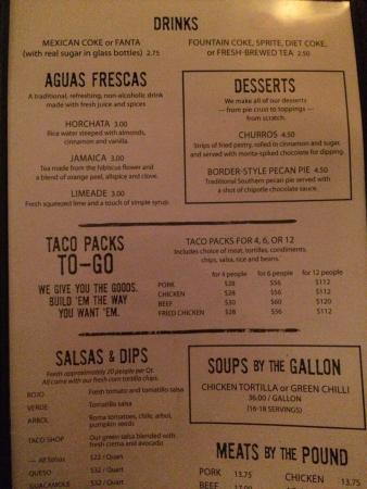 Little Donkey: Menu prices on 7/26/15