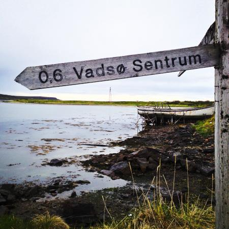 "Only 0,6 km to ""downtown"" Vadsø - the landing pole for airship ""Norge"" in the back of the pictur"