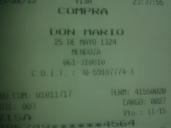 Don Mario : Comprobante de pago