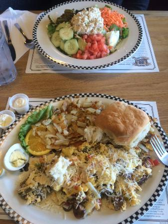 Black Bear Diner: Hot scramble, and opposit the tuna salad.