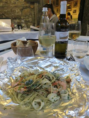 Spaghetti Seafood cooked in Foil
