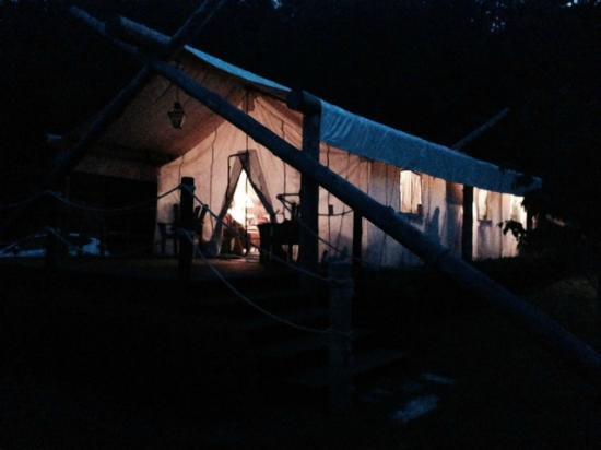 The Depot Lodge: The tent at night
