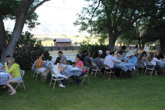 Rankin Ranch : Our weekly steak dinner in front of the original Rankin Home.