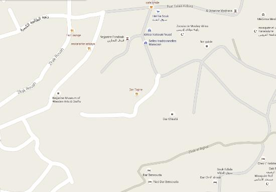 The location on Google Maps Picture of Restaurant Dar Tajine Fes