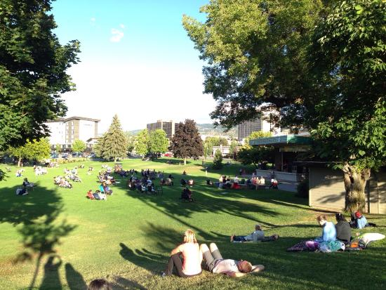 People watching free concert and roses in the garden. - Picture of ...