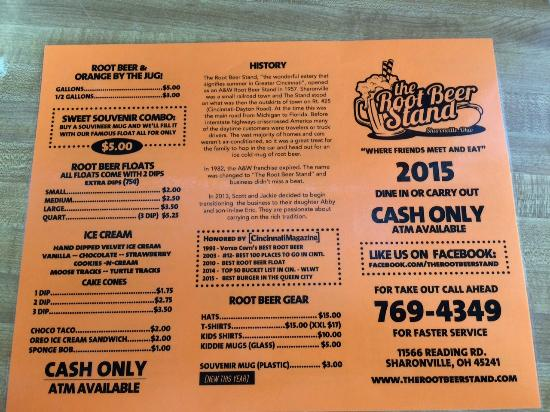 menu front picture of the root beer stand sharonville tripadvisor