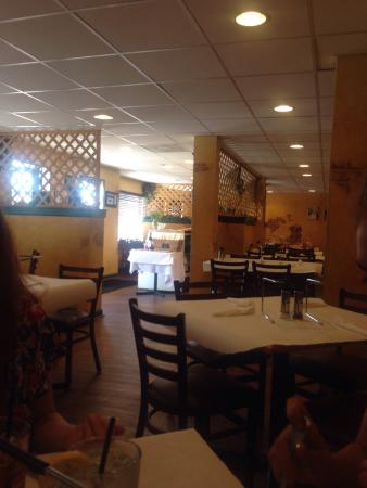 Maria's Pizzeria & Restaurant: Caprese Salad, View from our table and Absolutely delicious pizza!