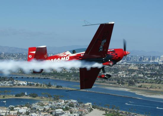 El Cajon, CA: Aerobatics high above the city of San Diego