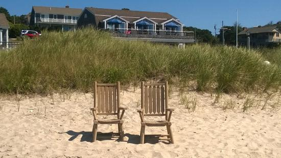 South Chatham, MA: Oceanfront townhouse from the beach.