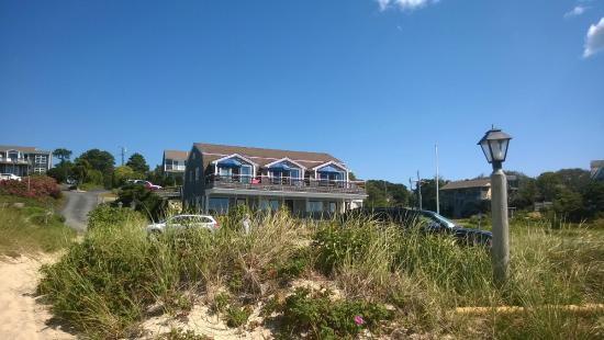 South Chatham, MA: View of townhouse from beach.