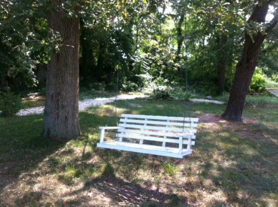 Scargo Manor Bed and Breakfast: Shady bench swing