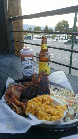 Victor, ID: Combo plate - ribs, brisket, coleslaw and mac n cheese