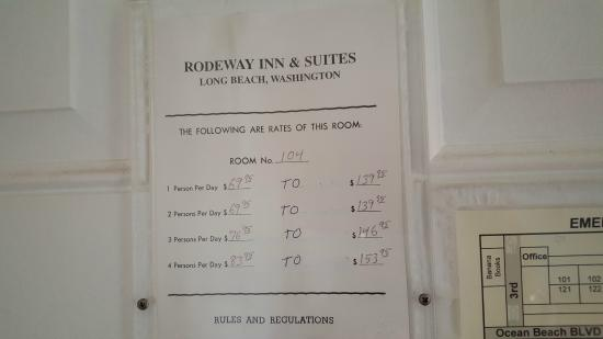Rodeway Inn & Suites: room rates on door