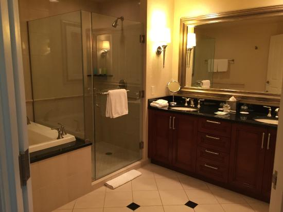 Signature At Mgm Grand Jacuzzi Tub Stand Up Shower Double Sink