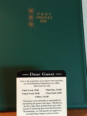 "Port Angeles Inn: ""Dear Guest"" greeting"